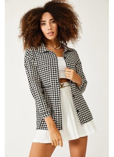 XHAN Beyaz & Siyah Kazayağı Desenli Yünlü Ceket Gömlek 1Kxk2-44432-01 Beyaz